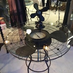 One-of-a-Kind Handmade 'FAN' table with working clock, Handmade Coffee Table, Vintage Fan Table, Coffee Table, Side Table
