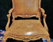 Antique Chair, French Leather Chair, Louis XV Style Chair, Carved Wood Chair, Vintage Leather Chair