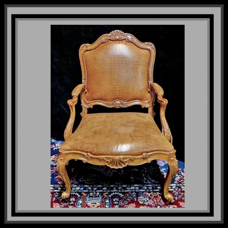 French Chair French Leather Armchair Antique Chair French image 0
