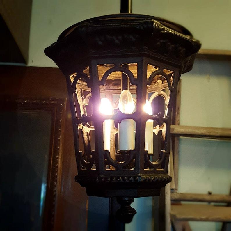 Pendant Lantern Fixture Vintage Pendant Light Black Iron image 0