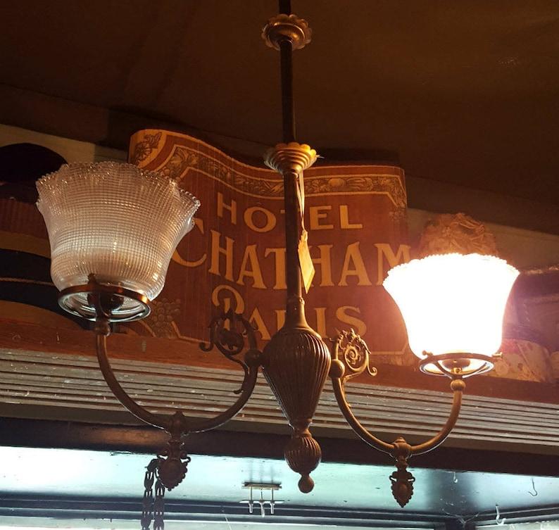 2-light Chandelier Victorian Chandelier Vintage Brass image 0