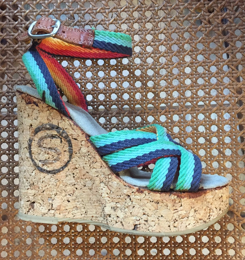 Platform Shoes Vintage Cork Platform Sandals image 0