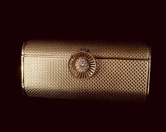 Gold Metal Vintage 50's Clutch Purse, Vintage Minaudiere Gold Metal Box Purse Evening Bag
