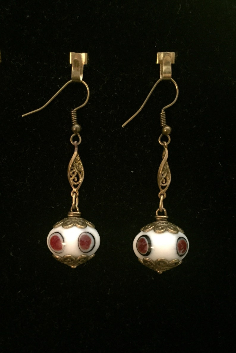 Drop Earrings made with Vintage Glass Beads Wedding Cake image 0