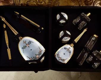 Deco Enameled 9-piece Vanity Set in Leather Case