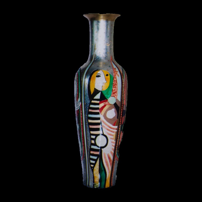 Picasso Style Metal Vase Picasso Palace Vase by Miro Lazunio image 0