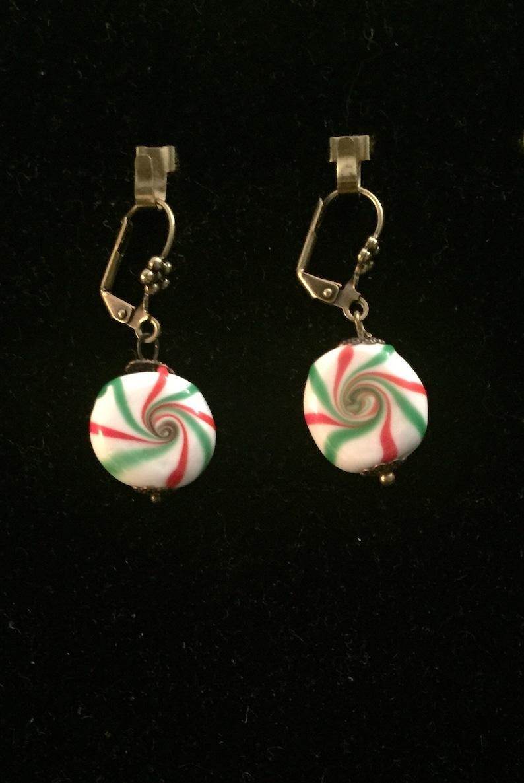 Christmas Candy Earrings Vintage Glass Earrings Wedding Cake image 0