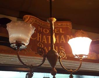 Victorian Chandelier, 2-Light Chandelier, Vintage Brass Chandelier, 19th Century Chandelier