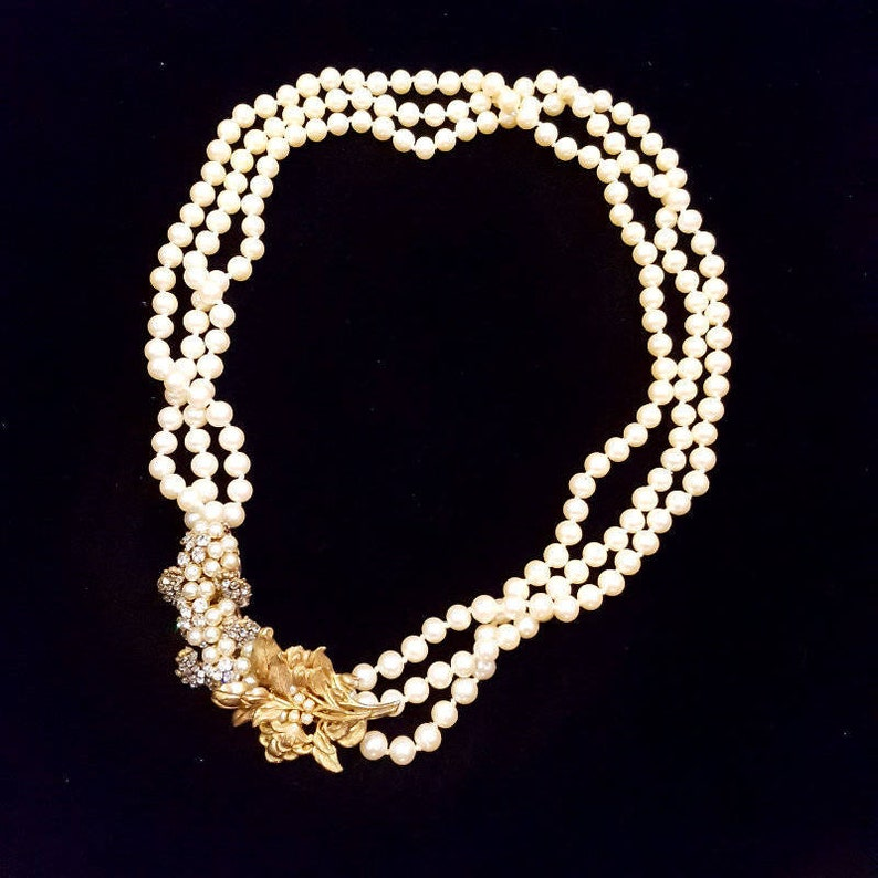 Miriam Haskell Three-Strand Vintage Pearl Necklace Signed image 0