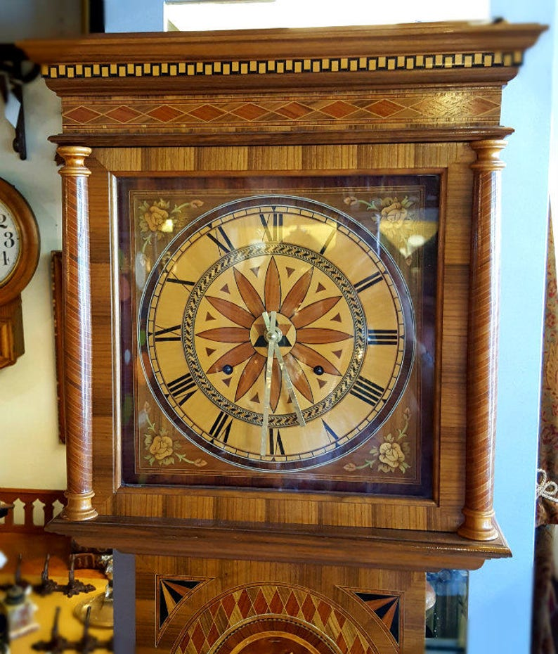 Grandmother Clock Antique Marquetry Grandmother Clock image 0