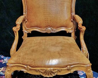 French Leather Chair, Louis XV Style Chair, Carved Wood Chair, Vintage Leather Chair