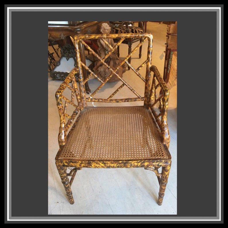 Bamboo Armchair Hand Painted Faux Bamboo Chair Vintage image 0