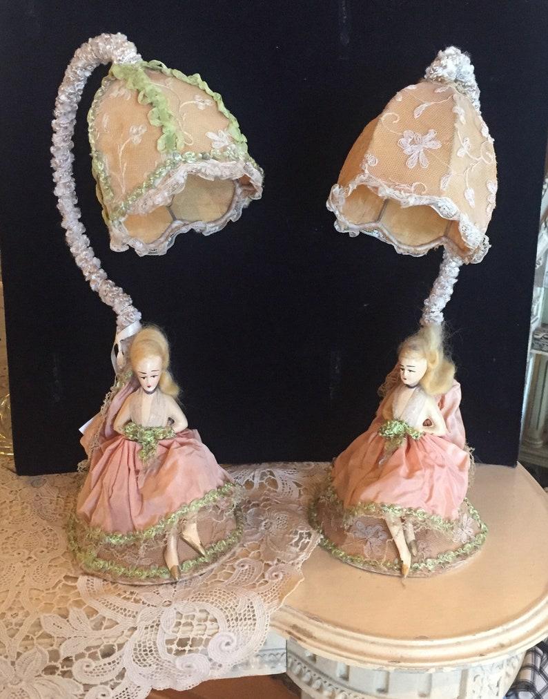 Boudoir Lamps Vintage 1930's Boudoir Lamps Figural Doll image 0