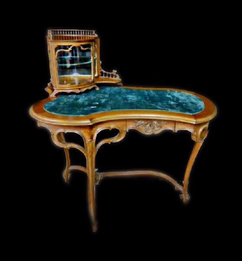 French Art Nouveau Desk with Vitrine Top and Side Chair Rare image 0