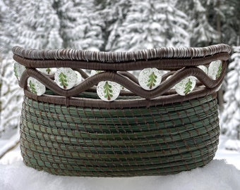 """Gorgeous pine needle basket with handmade snowy tree glass lampwork beads and a white disaster peak seam agate base entitled """"Snow Forest""""."""