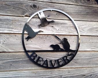 Beaver Hunting Ducks Sign