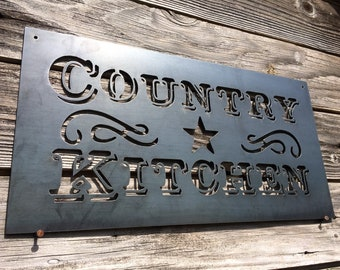 Country Kitchen Metal Sign