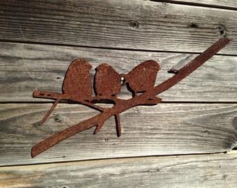 3 Birds On A Branch Metal Art