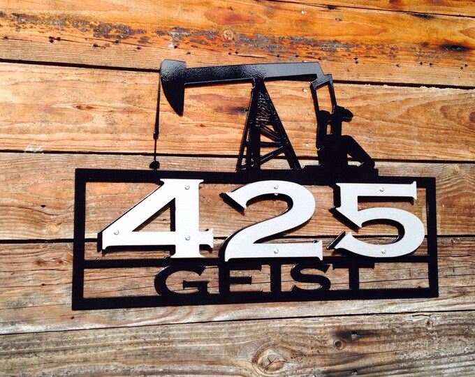 Oil Field Address Sign With Stainless Steel Accents