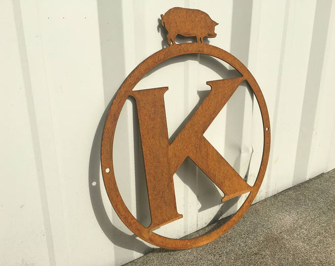Pig themed monogram with your letter of choice.