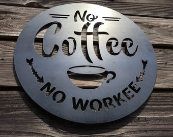 No Coffee No Workee Metal Sign