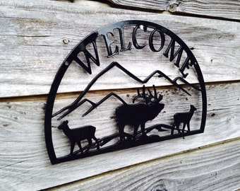 "12"" Welcome sign with Elk scene"