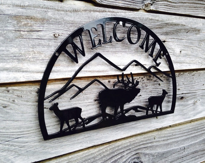 """12"""" Welcome sign with Elk scene"""