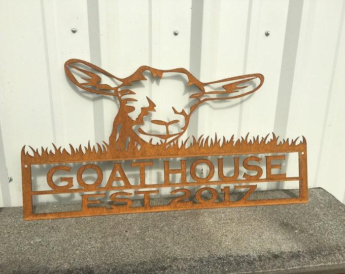 Metal Goat Sign