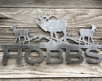 "Elk ""Welcome"" Metal Sign"