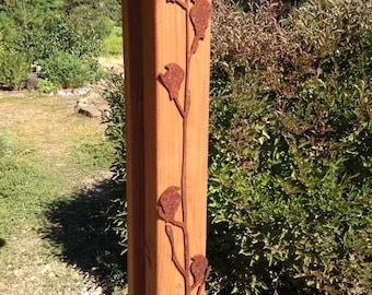 Vertical Birds On A Branch Metal Art