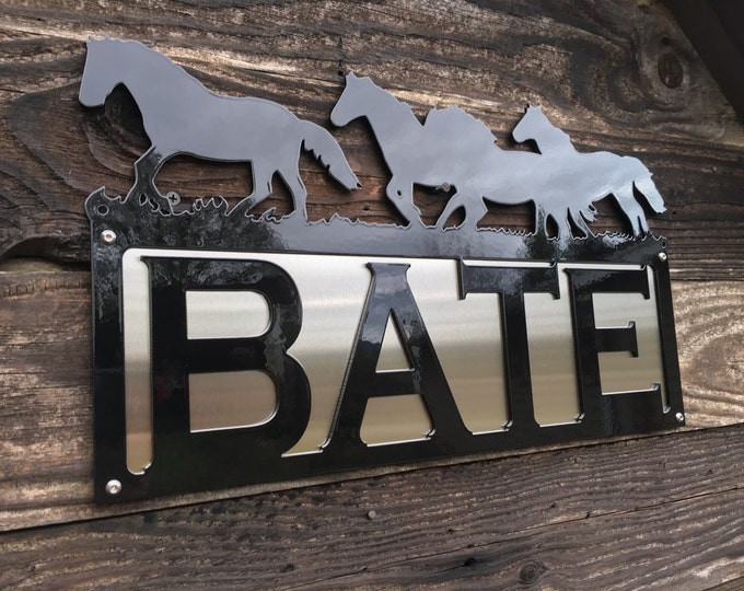 Horse Address Sign with Stainless Steel Accent