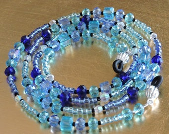 "Beautiful Blues Beaded Glasses Chain, Glasses Holder, 29"" long"