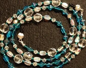 Beaded Eyeglasses/Chain/Lanyard - Crystal Clear Glass