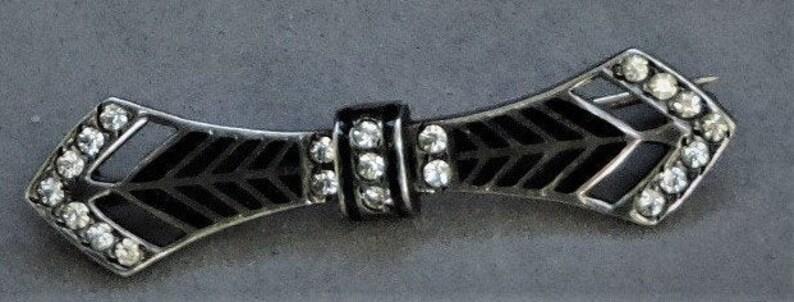 Antique Mourning Pin with Rhinestones silver back black enamel FREE SHIP