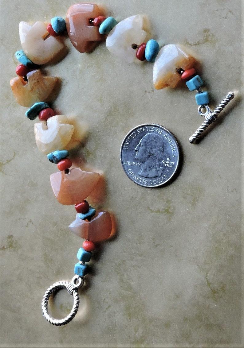 Caramel Quartz Bears Native American Fetish Stones Bracelet 8 length