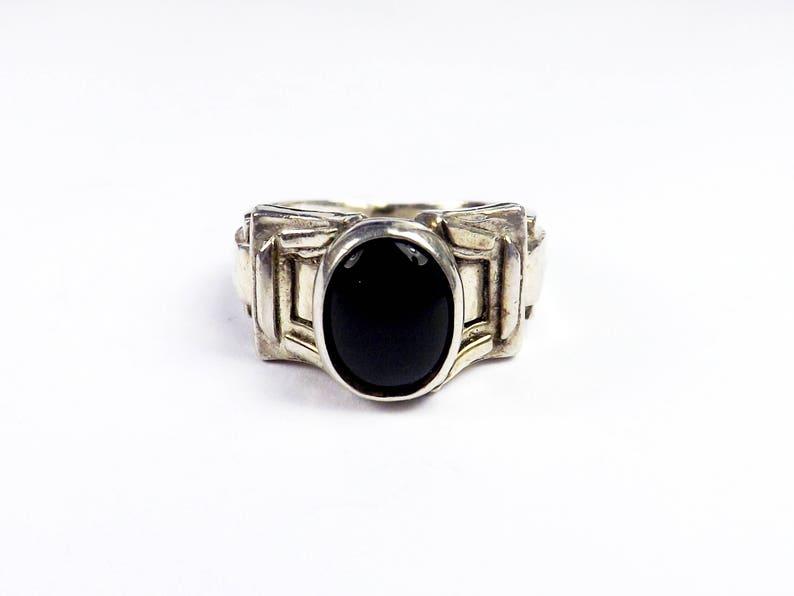 Vintage Etruscan Black Onyx Sterling Silver 925 Belt Buckle Band Ring Cocktail Runway size 4 34