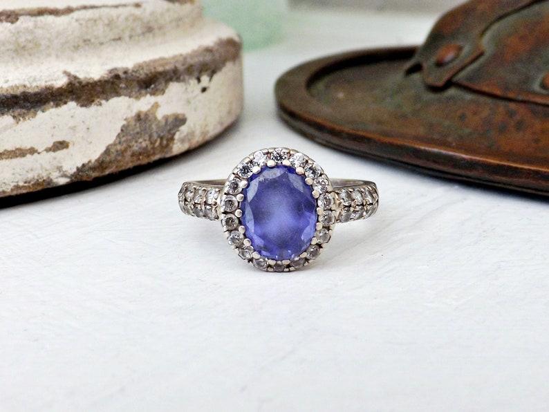 Tanzanite Blue Opal /& Cubic Zirconia Fashion .925 Sterling Silver Ring Sizes 5-1