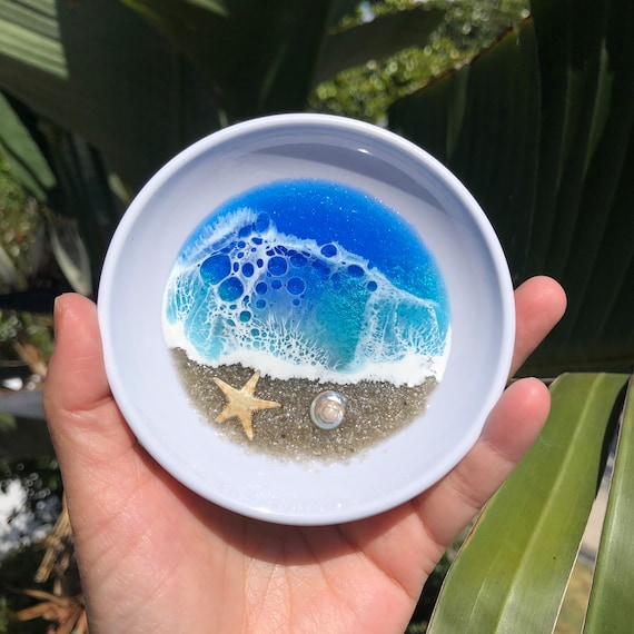 handmade with resin home decor gift Ocean Sunset Glass Bowl jewelry dish ring dish