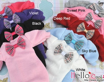 Blythe Pullip Puffed Sleeves Clothes With Grid Bow