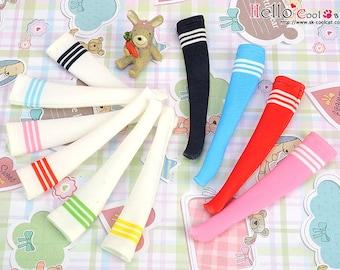 Blythe Pullip Doll Knee Print Socks (Student / White Stripe)