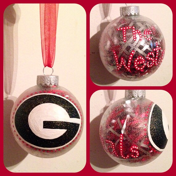 UGA Georgia Bulldog Christmas Ornament Hand Painted Georgia | Etsy