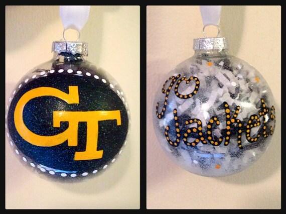 image 0 - Georgia Tech Hand Painted Ornaments Georgia Tech Christmas Etsy