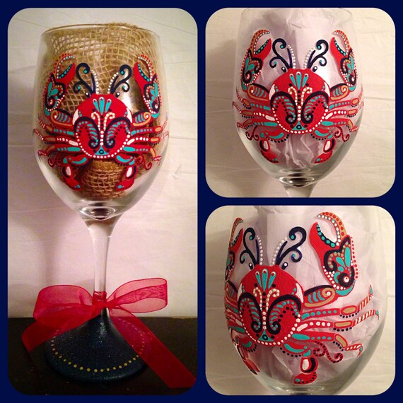 Crab Wine Glass Hand Painted Beach Themed Glassware Crab Etsy