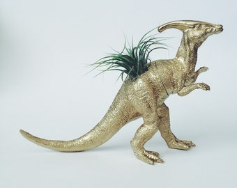 Large Gold Parasaurolophus Dinosaur Planter + Air Plant; Dinosaur Planter; Dino; Home Decor; Desk Accessory; Office Planter; Gift; Party