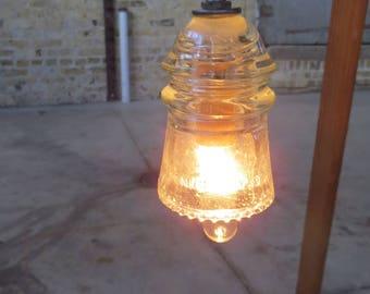 ON SALE--Vintage Industrial Railroad Electrical Insulator Pendant Light