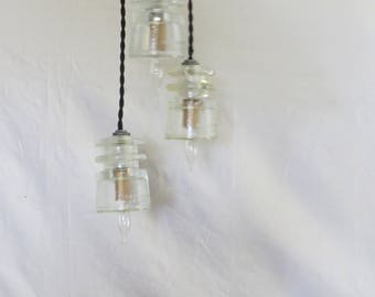 ON SALE--Industrial Three Pendant Clear Railroad Electrical Insulator Light--Staggered