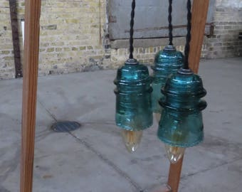 ON SALE--Vintage Industrial Railroad Electrical Insulator Light--Three Pendant Clustered