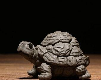 Tortoise decoration /tortoise sculpture/crafts creative home accessories/handmade purple clay module