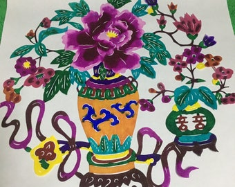 Chinese transitional paper cut flowers -1