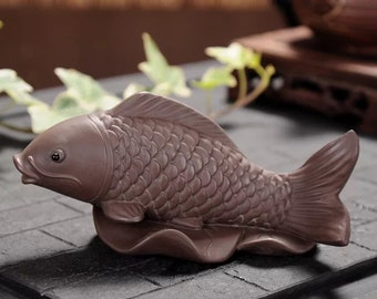purple clay sculpture /crafts creative home gaccessories/purple clay module/goldfish sculpture.